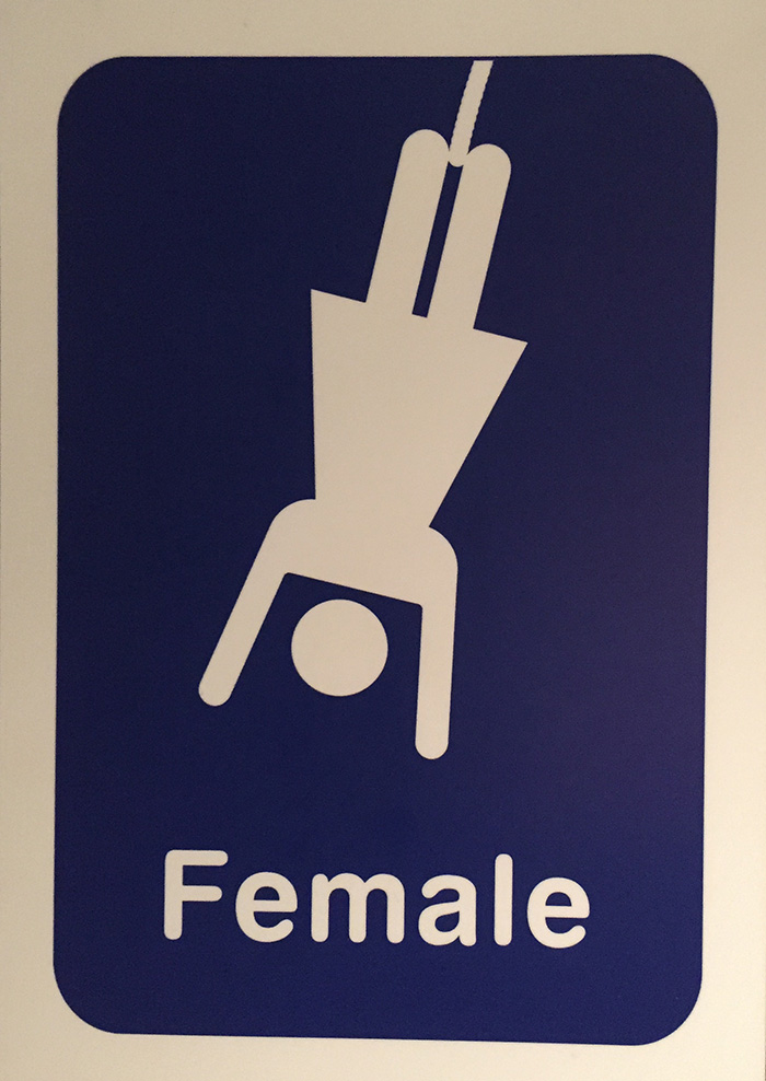 Unique rest room sign