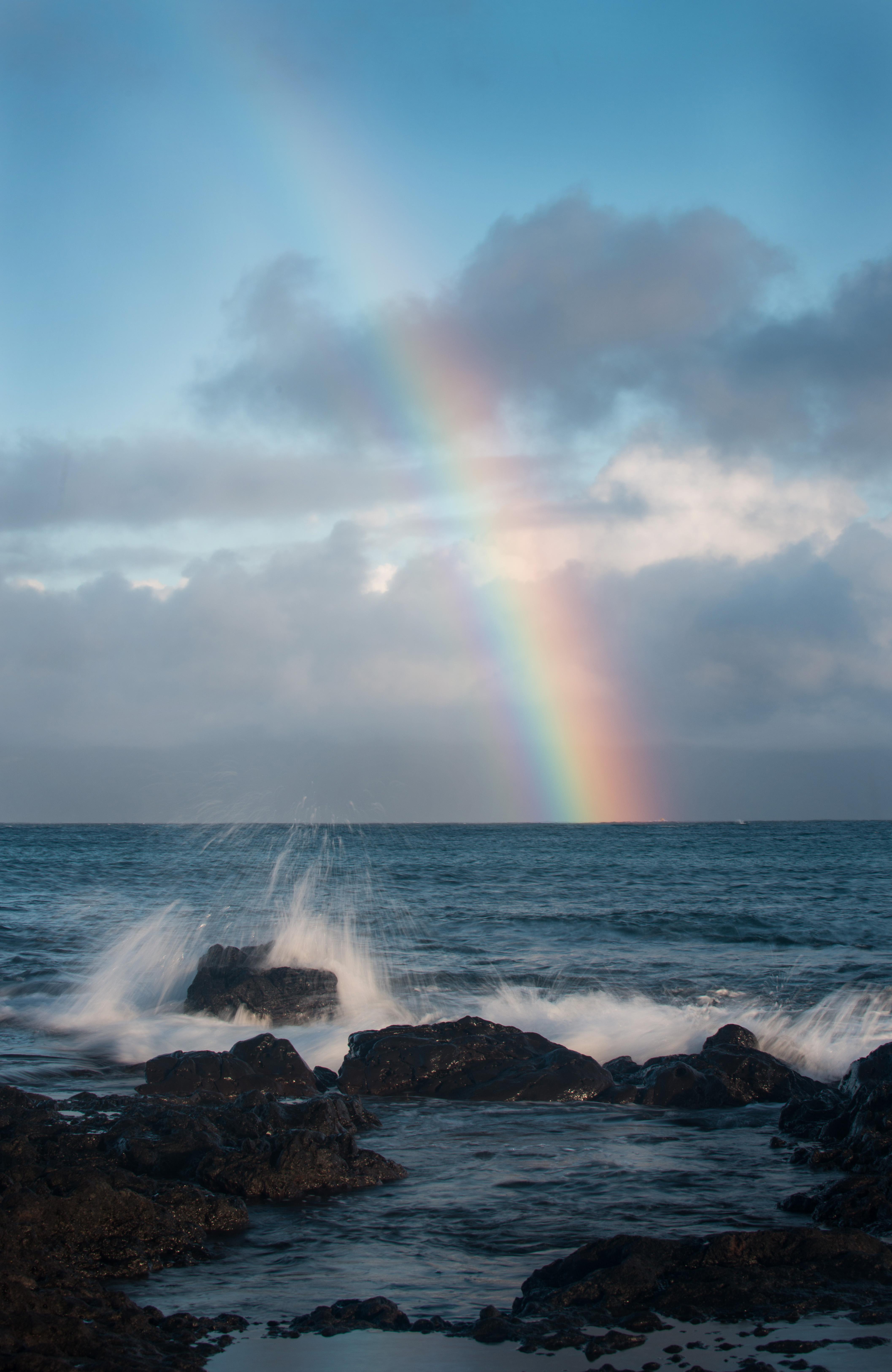 #rainbow, #maui, #hawaii, #rain, #showers, #ocean, #waves, #landscape, #nature