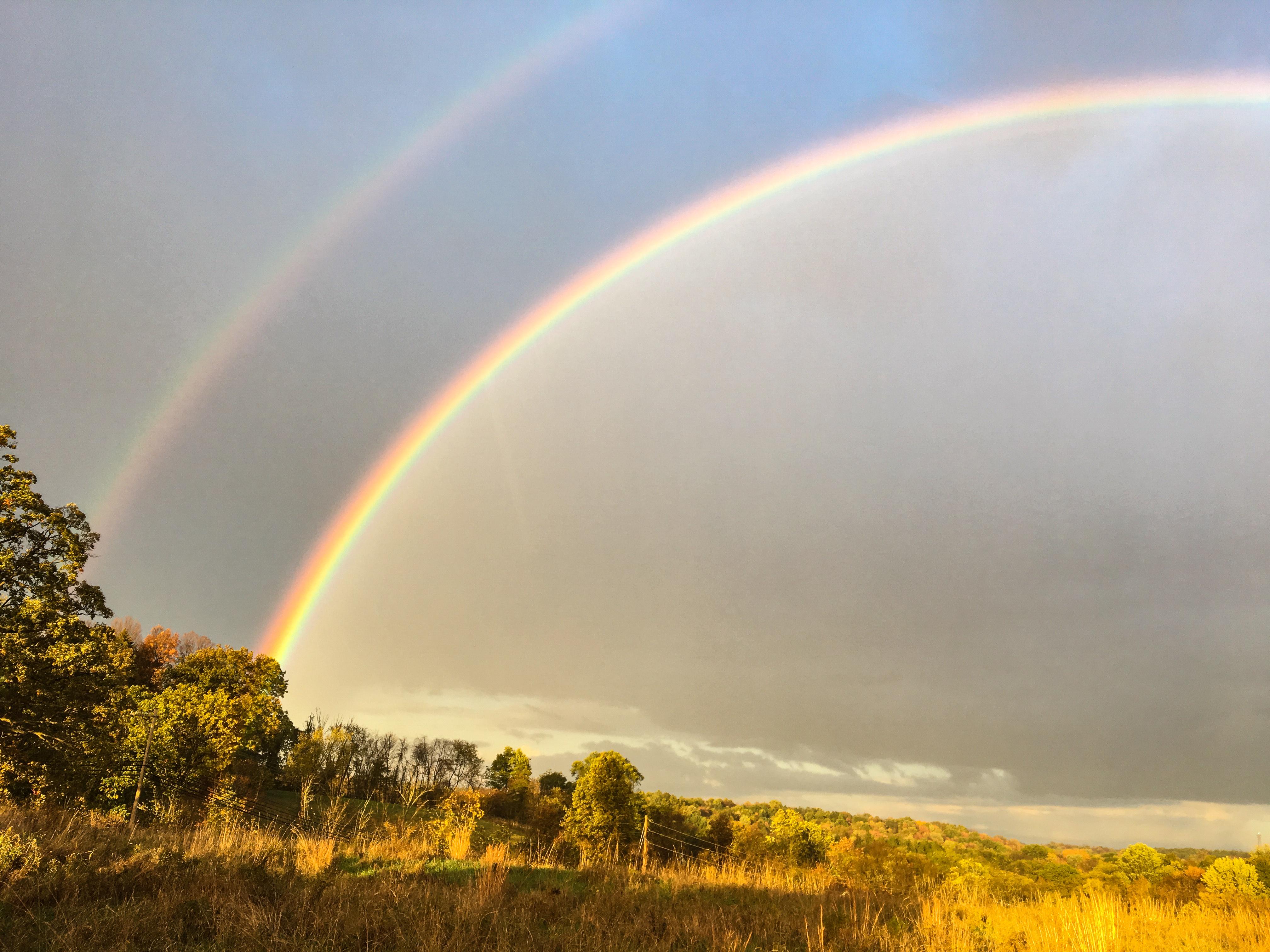 #rainbow, #doublerainbow, #sewickley, #nature, #october, #fall, #rain, #stopthecar
