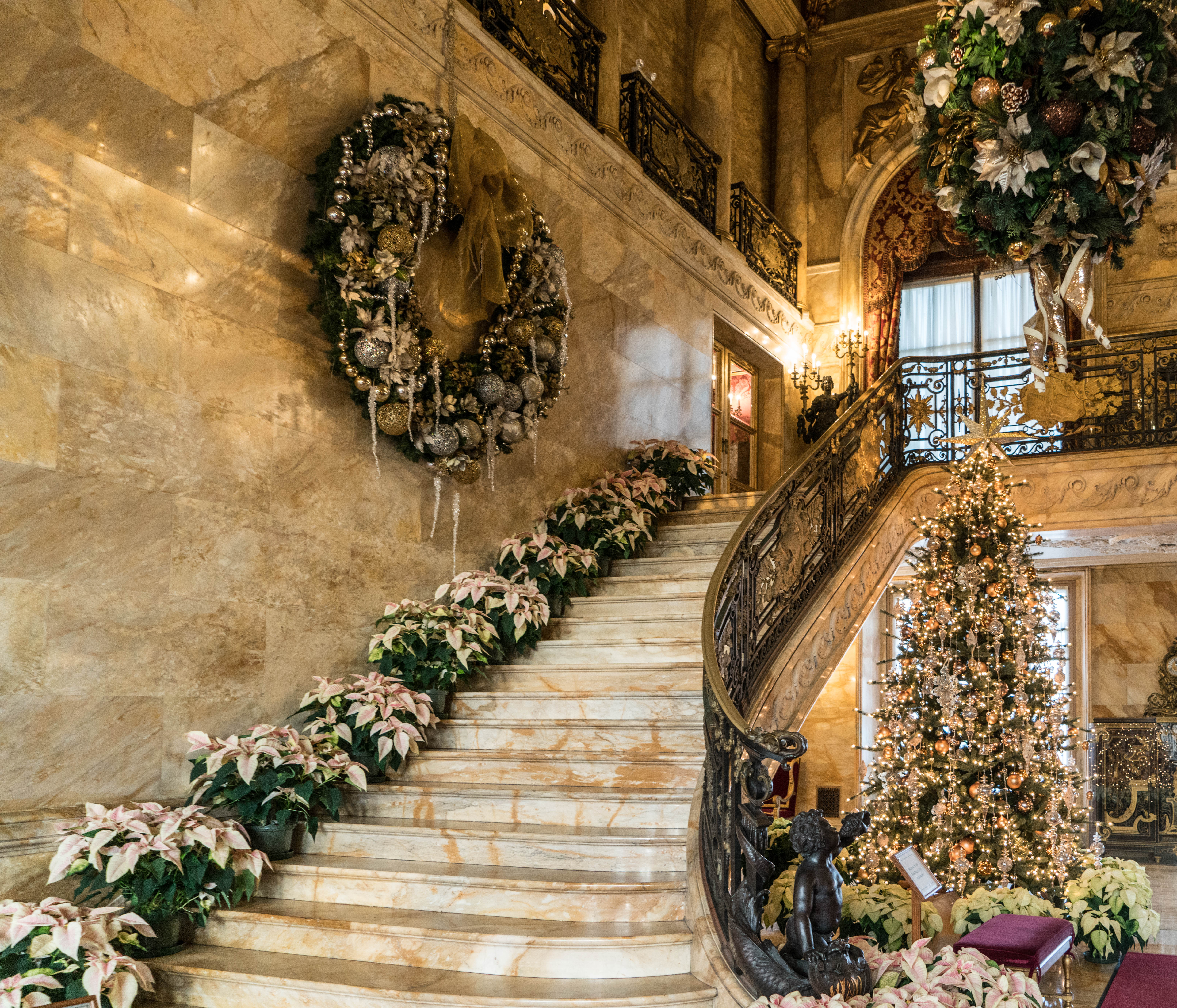 #Marblehouse, #Newport, #rhodeisland, #mansions, #Christmas, #gildedage, #stairs, #Vanderbilt