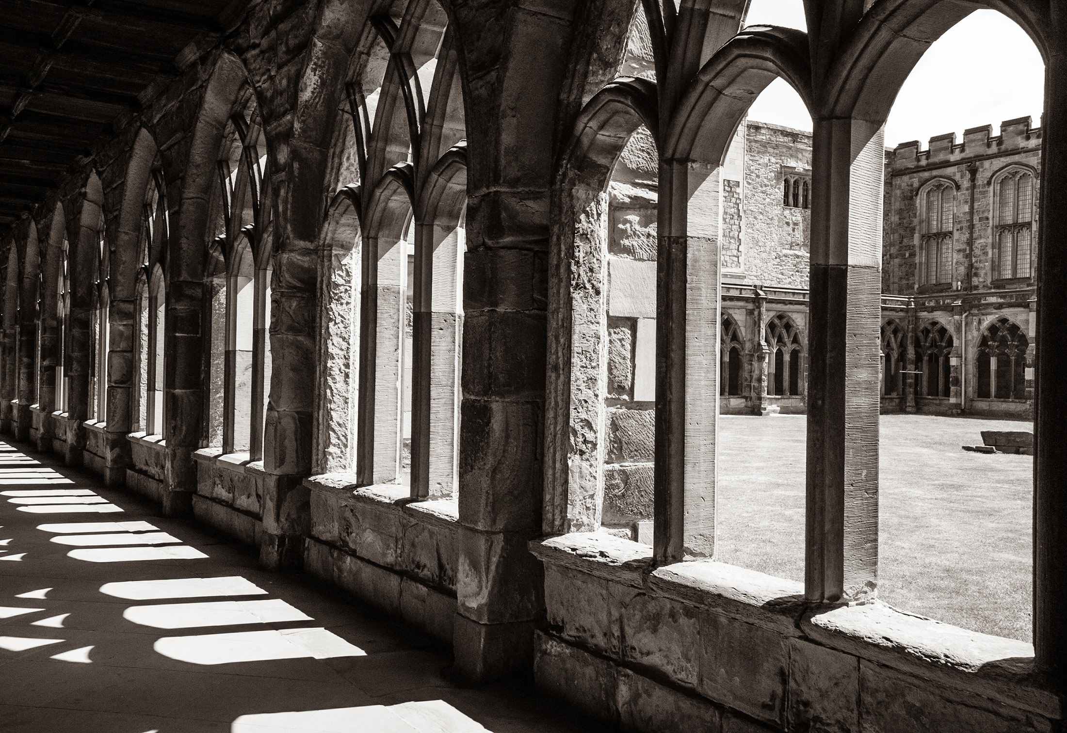 #durham, #durhamcathedral, #cloister, #harrypotter, #movie, #harrypottermovie, #school, #september, #sepia, #blackandwhite, #bw, #shadows, #architecture