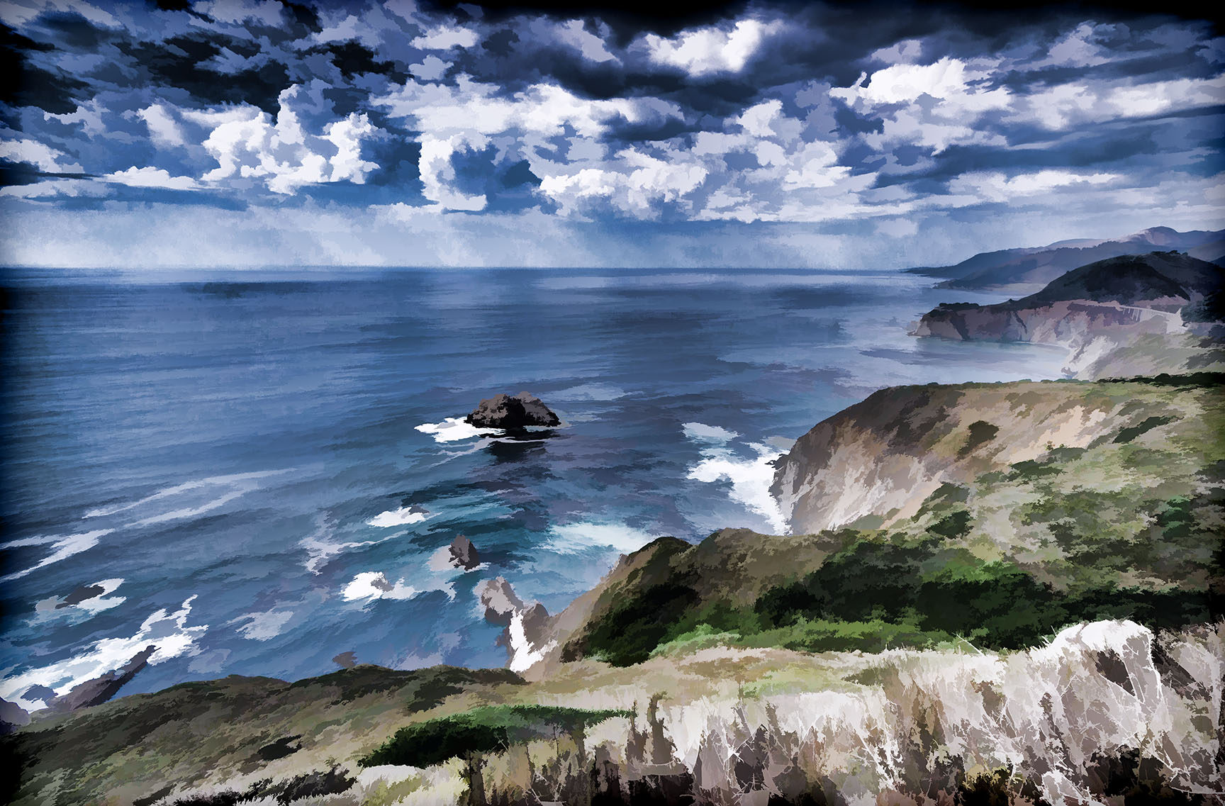 #topazlabs, #simplify, #processing, #montereybay, #bigsur, #routeone, #route1, #seascape, #california, #westcoast, #hurricanepoint
