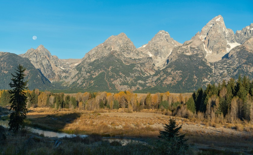 #moon, #grandtetons, #grandtetonnationalpark, #schwabacherlanding, #fallcolor, #fall, #landscape, #landscapephotography, #jacksonhole, #wyoming, #mountains, #snakeriver, #trees, #yellowandblue