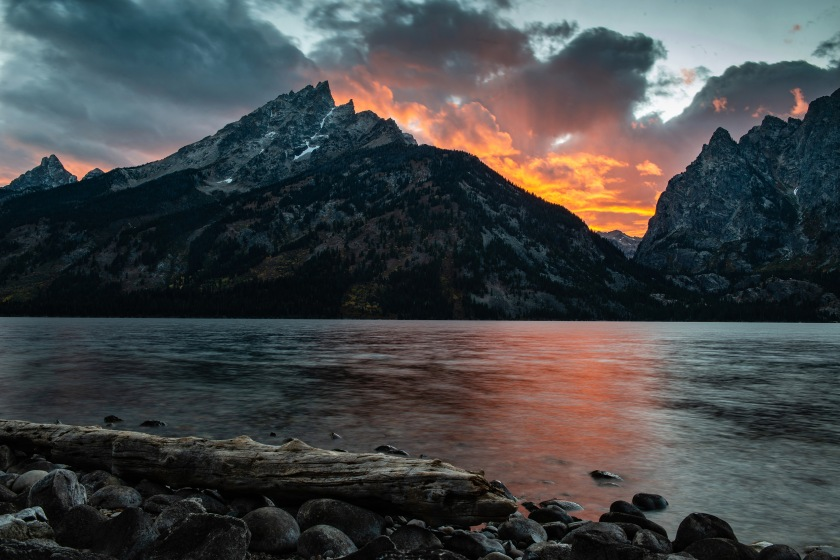 #nikon, #howto, #grandtetons, #grandtetonnationalpark, #jennylake, #sunset, #lake, #reflection, #sky, #vibrant, #log, #nationalparks, #jacksonhole